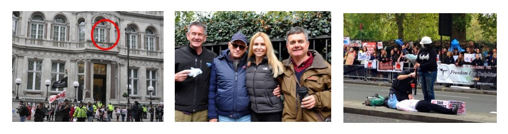 Taiji Cove London Protest October 2015. Anneka Svenska is joined by wildlife presenter Nigel Marven, Dolphin Project's Ric O'barry and Born Free's Dominic Dyer