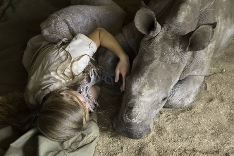 Jade sleeping with Chipoko the orphan rhino