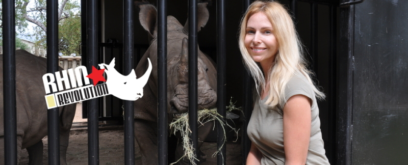 Anneka Svenska with Orphaned Rhino - Rhino Revolution