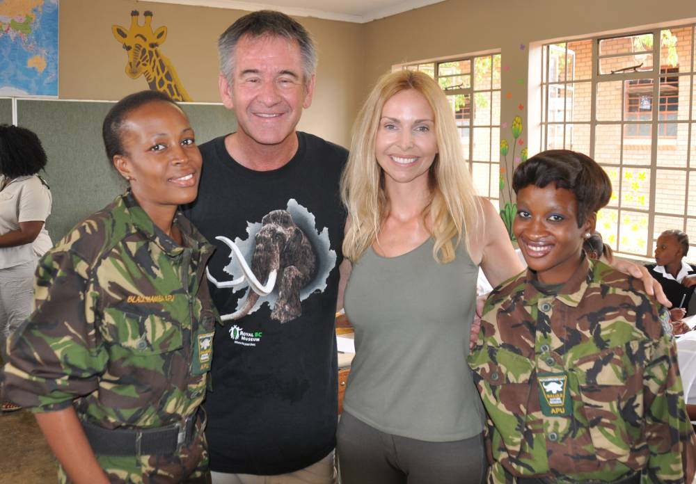 Nigel Marven and Anneka Svenska with Siphiwe and Felicia at The Bush Babies school programme Image Anneka Svenska