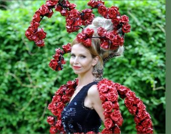 Wildlife Presenter & Conservationist Anneka Svenska wearing the largest hat in Ascot history covered in hundreds of roses to signify 1404 (and rising) horse deaths at the races since 2007 (according to The Horse Death Watch website), at Day 1 Royal Ascot Tuesday 14th June 2016. Anneka wore the hat in order to provoke conversation and change to improve welfare standards for race horses & cut deaths and injuries at all over courses in the UK.