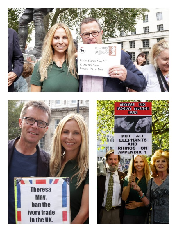 Wildlife presenter Anneka Svenska, conservationist Ian Redmond, Hugh Fernley Whittingstall, Nicky Campbell DJ and Rula Lenska march for elephants and rhinos