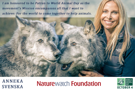 Anneka Svenska Patron to World Animal Day
